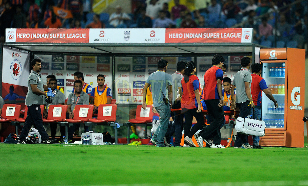 Dugouts and branding during match 36 of the Indian Super League (ISL) season 2  between Mumbai City FC vs FC Pune City held at the D.Y. Patil Stadium, Navi Mumbai, India on the 13th November 2015.<br /> <br /> Photo by Pal Pillai / ISL/ SPORTZPICS