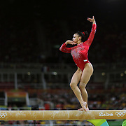 Gymnastics - Olympics: Day 10  Lauren Hernandez #393 of the United States performing her routine which won her the silver medal in the Women's Balance Beam Final during the Artistic Gymnastics competition at the Rio Olympic Arena on August 15, 2016 in Rio de Janeiro, Brazil. (Photo by Tim Clayton/Corbis via Getty Images)
