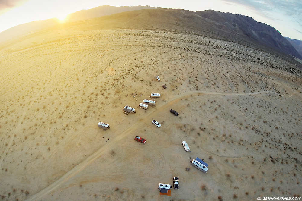 A community of Airstream RVers camp together off-the-grid in the Anza Borrego Desert of California.