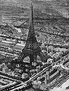 Bird's-eye view of the Eiffel Tower at the time of the opening of the Paris Exposition of 1889. Wood engraving.
