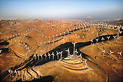 Five thousand wind turbines stretch out over the Tehachapi hills in California.