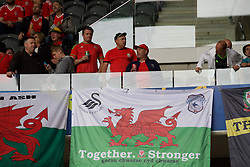 "LILLE, FRANCE - Friday, July 1, 2016: Wales supporters banner showing the Cardiff City and Swansea City club badges and ""Together Stronger"" in the stands ahead of the UEFA Euro 2016 Championship Quarter-Final match against Belgium at the Stade Pierre Mauroy. (Pic by Paul Greenwood/Propaganda)"