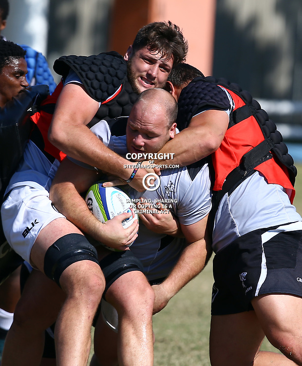 DURBAN, SOUTH AFRICA, 18,JULY, 2016 - Ruan Botha tackling Kyle Cooper during The Cell C Sharks training session at Growthpoint Kings Park in Durban, South Africa. (Photo by Steve Haag)<br /> <br /> images for social media must have consent from Steve Haag