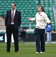 6 Feb 2010 Twickenham, England: Toby Flood and Martin Johnson of England during a pitch inspection before the start of the Six Nations match between England and Wales. Photo © Andrew Tobin www.slikimages.com