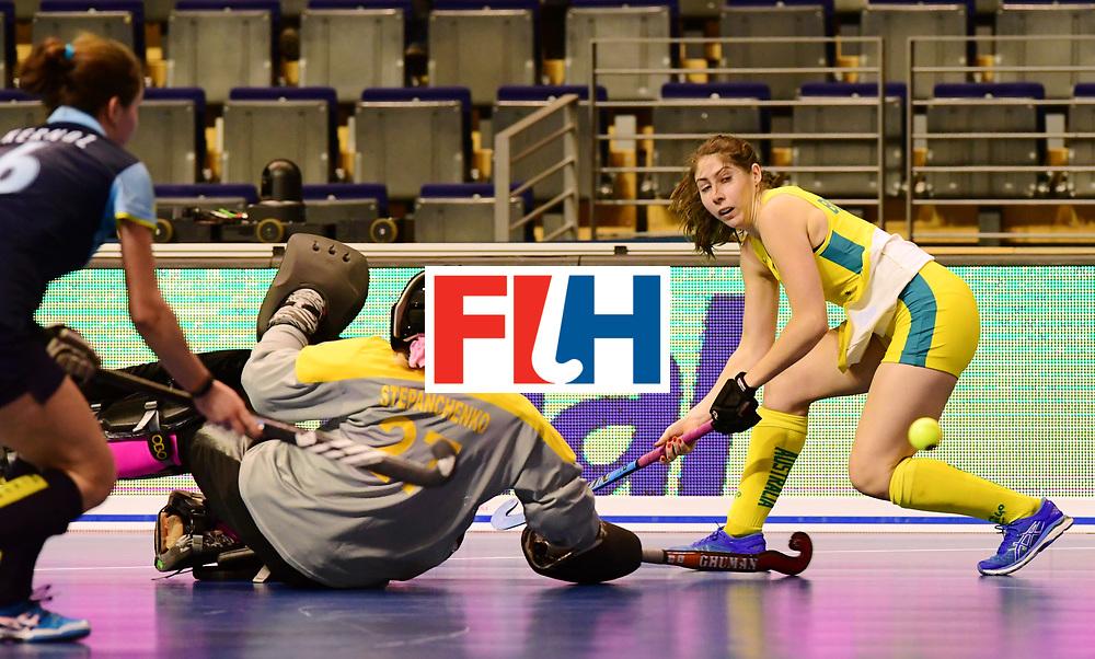 BERLIN - Indoor Hockey World Cup<br /> Women: Ukraine - Australia<br /> foto: BOUCHER Tegan.<br /> WORLDSPORTPICS COPYRIGHT FRANK UIJLENBROEK