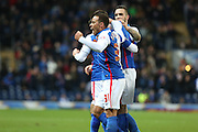Elliott Bennett of Blackburn Rovers celebrates with Ben Marshall of Blackburn Rovers during the Sky Bet Championship match between Blackburn Rovers and Fulham at Ewood Park, Blackburn, England on 16 February 2016. Photo by Simon Brady.