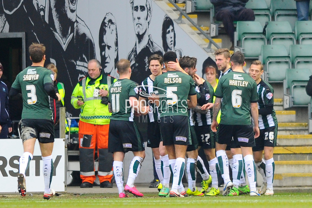 Plymouth celebrate Graham Carey's goal during the Sky Bet League 2 match between Plymouth Argyle and Notts County at Home Park, Plymouth, England on 27 February 2016. Photo by Graham Hunt.