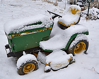 Lawn Tractor after the First Snow. Autumn Backyard Nature in New Jersey. Image taken with a Leica T camera and 11-23 mm lens (ISO 400, 19 mm, f/5.6, 1500 sec)
