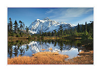 Mount Shuksan (9131 feet, 2783 meters) seen from Picture Lake, Heather Meadows Recreation Area, North Cascades Washington