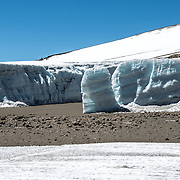 A thick glacier on the plateau near Crater Camp (18,810) feet, just below Kibo Summit, on Mt Kilimanjaro.
