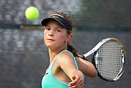 Iowa City West's Maria Burtch eyes a return during the Class 2A state team tennis tournament at Veterans Memorial Tennis Center in Cedar Rapids on Saturday, June 1, 2013.