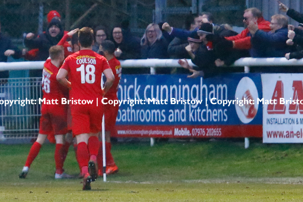 Leyton Orient's forward David Mooney is swampped by team mates after scoring a late winner during the The FA Trophy match between Dover Athletic and Leyton Orient at Crabble Stadium, Kent on 3 February 2018. Photo by Matt Bristow.