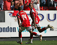 Photo: Lee Earle.<br /> Charlton Athletic v Sheffield Wednesday. Coca Cola Championship. 25/08/2007.Charlton's Chris Iwelumo (R) celebrates with Jerome Thomas after scoring their winning goal.