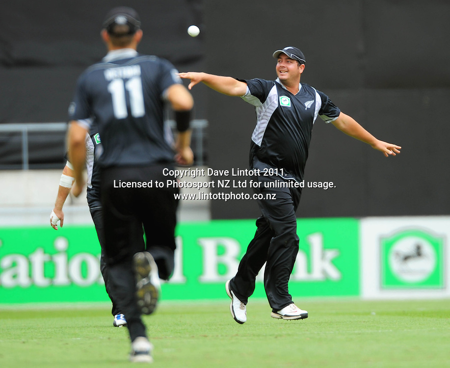 NZ's Jesse Ryder celebrates catching Kamzan Akmal. First one-day international cricket match - New Zealand v Pakistan at Westpac Stadium, Wellington, New Zealand on Saturday, 22 January 2011. Photo: Dave Lintott / photosport.co.nz