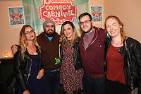 repro free: Vodafone Comedy Carnival : <br /> <br /> Pictured at the launch of the Vodafone Comedy Carnival in the Roisin Dubh were,  Greta Gailiunaite, Sean O'Rodachain, Aisling Corrigan, Eamonn Brophy and Erin Fingleton . The 2016 Vodafone Comedy Carnival runs as part of Vodafone&rsquo;s Centre Stage and is sure to fill the &lsquo;Eyre&rsquo; with laughter with performances from international and home grown comedians over the October bank holiday weekend (25th to 31st of October). Shows will take place in multiple venues across the city, including the brand new venue &lsquo;The Red Box&rsquo; at Eyre Square. Tickets on sale from Monday 29th August. For more for info go to  HYPERLINK &quot;http://www.vodafonecomedycarnival.com&quot; www.vodafonecomedycarnival.com&nbsp; <br /> Photo: xposure.