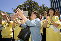 Palo Alto, CALIF. June 24, 2004--Tech workers rally in opposition to stock option regulations outside Palo Alto City Hall, June 24, 2004 Photo by Kim Kulish