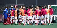 AMSTELVEEN - Oranje Rood voor  de hoofdklasse hockeywedstrijd AMSTERDAM-ORANJE ROOD (4-5).  COPYRIGHT KOEN SUYK