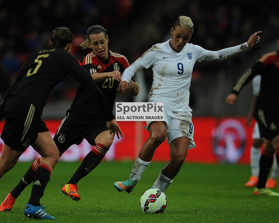 England's Lianne Sanderson attacks Germany Defence, England v Germany Ladies, Breast Cancer Care International, Wembley , Sunday 23rd November 2014