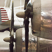Detail of the Enola Gay, the B-29 bomber that dropped the atomic bomb on Hiroshima, on display at the Smithsonian National Air and Space Museum's Udvar-Hazy Center. Located near Dulles Airport, the Udvar-Hazy Center is the second public facility of the Smithsonian's National Air and Space Museum. Housed in a large hangar are a multitude of planes, helicopter, rockets, and space vehicles.