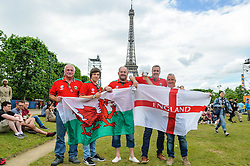 Wales and England fans mixing together and having some friendly banter at the Paris Fanzone. Images from the UEFA EURO 2016, 14 June 2016 in Fan Zone. (c) Paul Roberts | Edinburgh Elite media. All Rights Reserved
