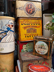 Detail of antiques outside shop in central Utrecht The Netherlands
