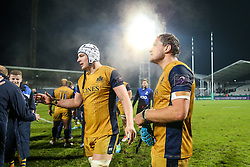 Mitch Eadie and Olly Robinson of Bristol Rugby celebrates after Bristol Rugby win the game 18-28 - Rogan Thomson/JMP - 16/12/2016 - RUGBY UNION - Stade du Hameau - Pau, France - Pau v Bristol Rugby - EPCR Challenge Cup.