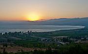 Israel, Galilee, Sea of Galilee at sunset