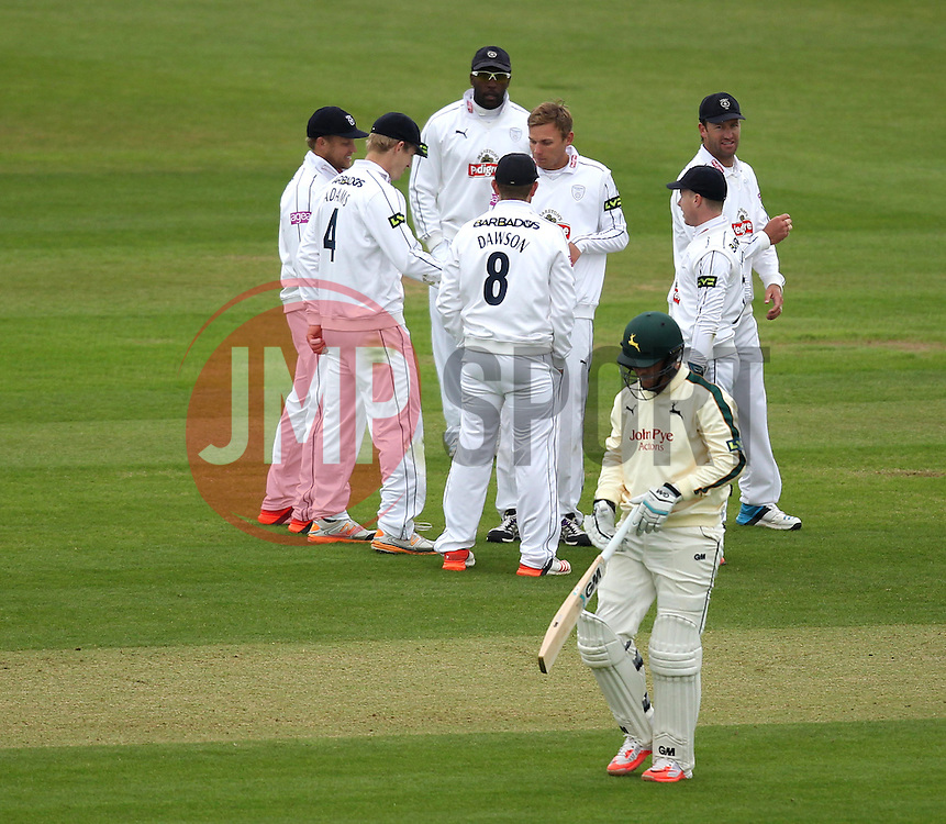 Nottinghamshire's Billy Taylor walks off after being bowled by Hampshire's Danny Briggs - Photo mandatory by-line: Robbie Stephenson/JMP - Mobile: 07966 386802 - 26/04/2015 - SPORT - Cricket - Southampton - The Ageas Bowl - Hampshire v Nottinghamshire - County Championship Division One