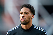 Zak Vyner (#33) of Aberdeen FC warms up before the Ladbrokes Scottish Premiership match between Heart of Midlothian FC and Aberdeen FC at Tynecastle Stadium, Edinburgh, Scotland on 29 December 2019.