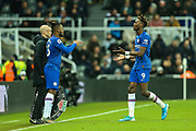 Tammy Abraham (#9) of Chelsea is replaced by Michy Batshuayi (#23) of Chelsea during the Premier League match between Newcastle United and Chelsea at St. James's Park, Newcastle, England on 18 January 2020.