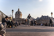 France. Paris. 1st district. the pont des arts on the Seine river, Institut de France   /   la passerelle des arts sur la Seine