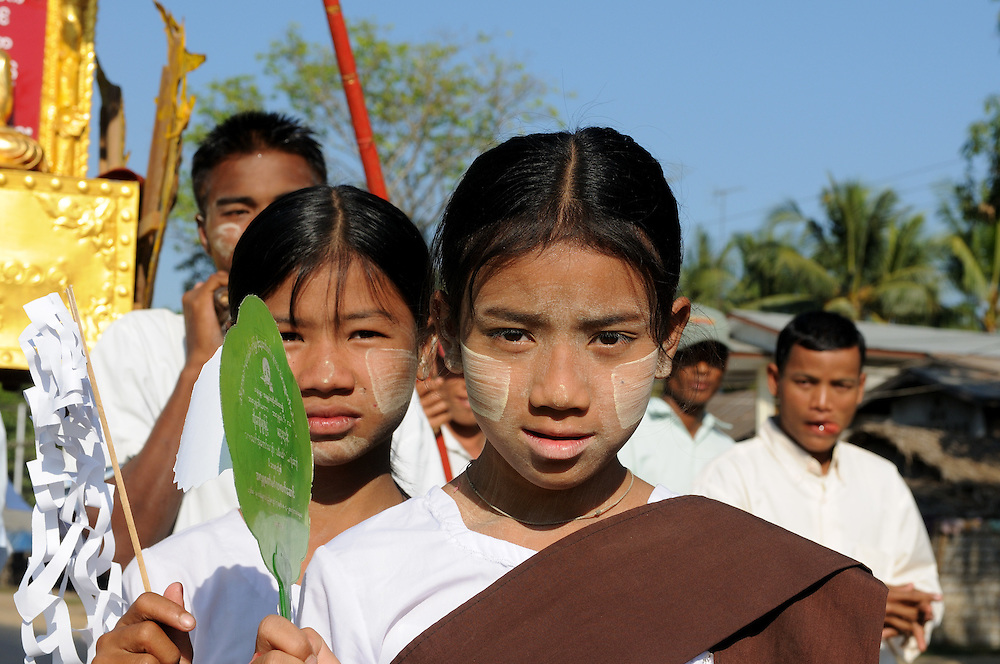 Children at a traditional buddhist ceremony in their traditional clothes, Pago, Myanmar