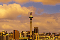 The skyline of Auckland, New Zealand (with the 328 meter high Sky Tower rising above it)