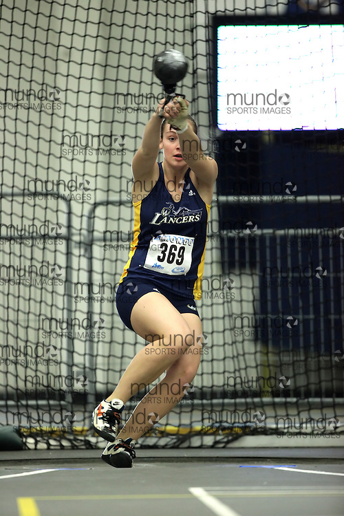(Windsor, Ontario---11 March 2010) Shealyn McLaughlin of University of Windsor Lancers competes in the  competes in the weight throw at the 2010 Canadian Interuniversity Sport Track and Field Championships at the St. Denis Center. Photograph copyright Geoff Robins/Mundo Sport Images. www.mundosportimages.com