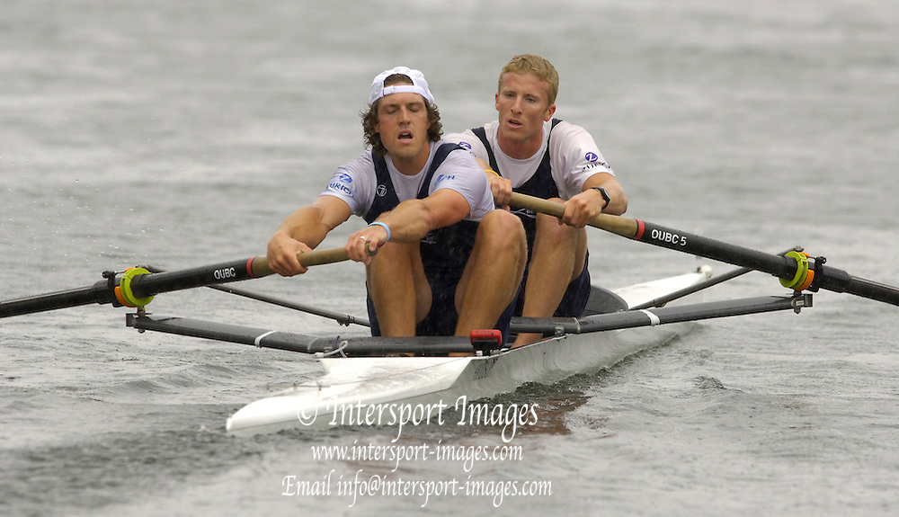 2005 Henley Royal Regatta, Henley on Thames, ENGLAND. Tuesday 30.06.2005 Opening heat of the Silver Goblets and Nickalls' Challenge Cup. left Barney Williams and Scott Frandsen 'Oxford University' paddle home in the closing stages of the race. Photo  Peter Spurrier. .email images@intersport-images..[Mandatory Credit Peter Spurrier/ Intersport Images] . HRR.
