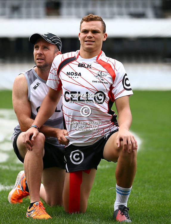DURBAN, SOUTH AFRICA - SEPTEMBER 09: Johan Pretorius Head Strength & Conditioning Coach with Curwin Bosch during the Cell C Sharks XV captains run at Growthpoint Kings Park on September 09, 2016 in Durban, South Africa. (Photo by Steve Haag/Gallo Images)