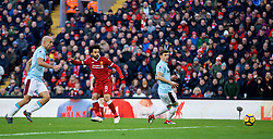 LIVERPOOL, ENGLAND - Saturday, February 24, 2018: Liverpool's Mohamed Salah scores the second goal during the FA Premier League match between Liverpool FC and West Ham United FC at Anfield. (Pic by David Rawcliffe/Propaganda)