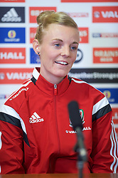 CARDIFF, WALES - Thursday, February 19, 2015: New Wales women's team captain Sophie Ingle during a press conference ahead of the 2015 Istria Cup at the FAW HQ in Cardiff. (Pic by Carl Robertson/Propaganda)