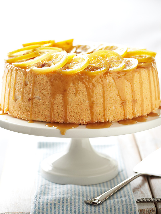 Angel Food Cake with Candied Lemon, Coconut and Caramel Sauce