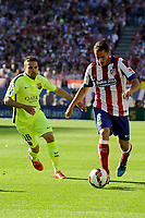 Atletico de Madrid´s Koke and FC Barcelona´s Jordi Alba during 2014-15 La Liga match between Atletico de Madrid and FC Barcelona at Vicente Calderon stadium in Madrid, Spain. May 17, 2015. (ALTERPHOTOS/Luis Fernandez)