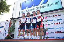 Cervélo-Bigla Cycling Team riders stand on the sign-on podium before Stage 5 of the Emakumeen Bira - a 95.2 km road race, starting and finishing in Errenteria on May 21, 2017, in Basque Country, Spain. (Photo by Balint Hamvas/Velofocus)