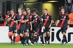 28.09.2011, BayArena, Leverkusen, GER, UEFA CL, Gruppe E, Bayer 04 Leverkusen (GER) vs KRC Genk (BEL), im Bild.Torjubel / Jubel  nach dem 1:0 durch Lars Bender (Leverkusen #8) (2R)..// during the UEFA CL, group E, Bayer Leverkusen vs KRC Genk  on 2011/09/28, at BayArena, Leverkusen, Germany. EXPA Pictures © 2011, PhotoCredit: EXPA/ nph/  Mueller *** Local Caption ***       ****** out of GER / CRO  / BEL ******