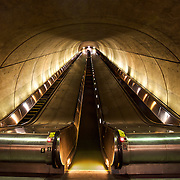 Tunnel and escalators at the Woodley Park Metro train station in Adams Morgan area of Washington, DC