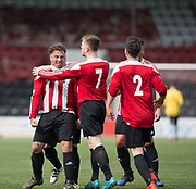 Steve Martin is congratulated after opening the scoring - Dundee Argyle v Dykehead AFC in the Scottish Sunday Trophy semi final at Excelsior Stadium, Airdrie, Photo: David Young<br /> <br />  - © David Young - www.davidyoungphoto.co.uk - email: davidyoungphoto@gmail.com