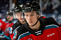 KELOWNA, BC - NOVEMBER 6: Ethan Ernst #19 of the Kelowna Rockets warms up against the Victoria Royals  at Prospera Place on November 6, 2019 in Kelowna, Canada. (Photo by Marissa Baecker/Shoot the Breeze)