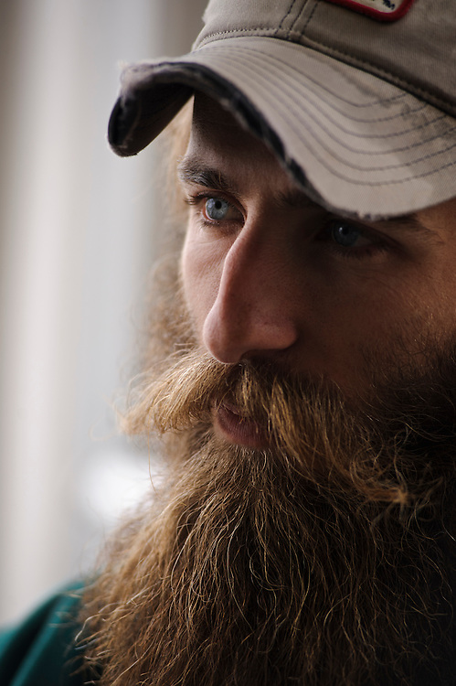 photo by Matt Roth.Wednesday, April 11, 2012..When Ron Shriver was in the Marines he had to shave every day. After retiring he decided to stop shaving. His beard has come and gone over time, but his most recent growth is nine-months old...Ron Shriver is a retired marine staff sergeant. He is also the first in his family to attend college, thanks to the New G.I. Bill. His wife, a fellow retired Marine, is finishing up graduate school in Alaska. After Ron gets his undergraduate degree from McDaniel College in May, he plans to drive to Alaska with is two children Rory, 6, and Miles, 5. For the move Ron got rid of most of his family's belongings, and after his lease was up, he and his children moved back into his parent's farmhouse.