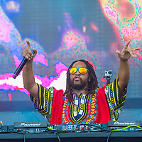 LAS VEGAS - SEP 20: Rapper Lil Jon performs on stage at the 2014 iHeartRadio Music Festival Village on September 20, 2014 in Las Vegas.