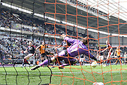 Hull City midfielder Jake Livermore (14) scores his second goal to go 5-1 up  during the Sky Bet Championship match between Hull City and Rotherham United at the KC Stadium, Kingston upon Hull, England on 7 May 2016. Photo by Ian Lyall.