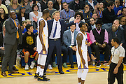 Golden State Warriors head coach Steve Kerr is given a technical foul in the second quarter against the Houston Rockets at Oracle Arena in Oakland, Calif., on December 1, 2016. (Stan Olszewski/Special to S.F. Examiner)