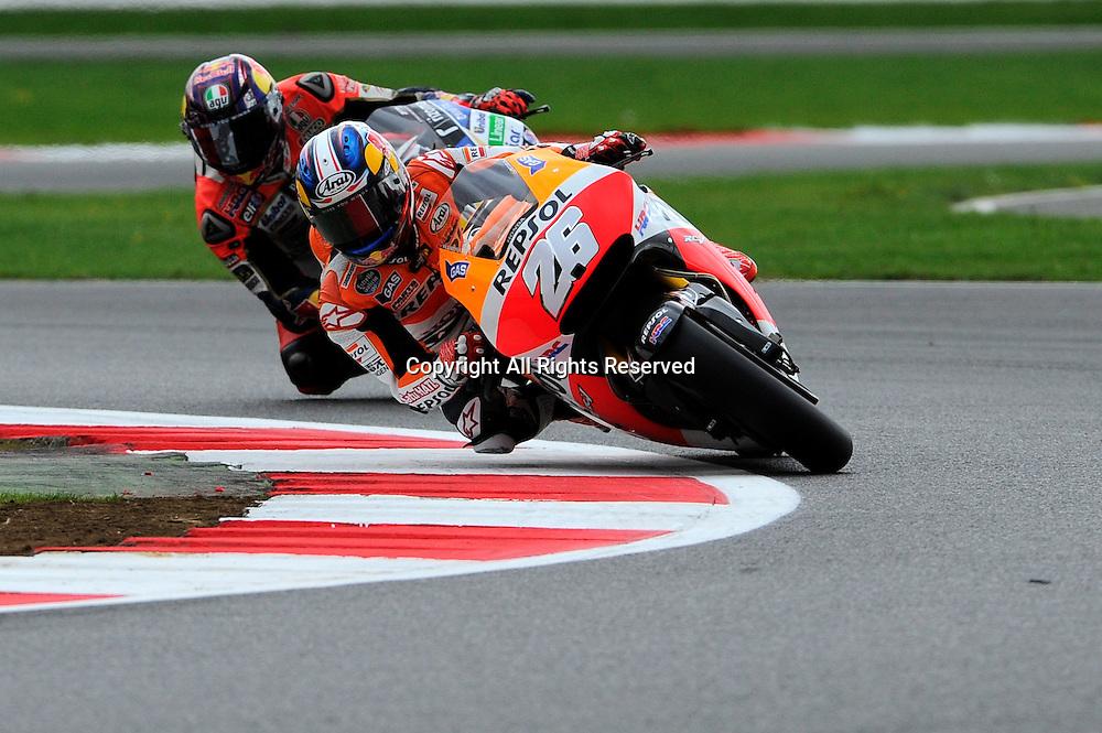 29.08.2014.  Silverstone, England. MotoGP. British Grand Prix.Dani Pedrosa (Repsol Honda Team) during the free practice sessions.